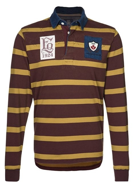 FQ1924 Frontiers of Quebec Shirt  vintage Polohemd Rugby Poloshirt gestreift M-XXL