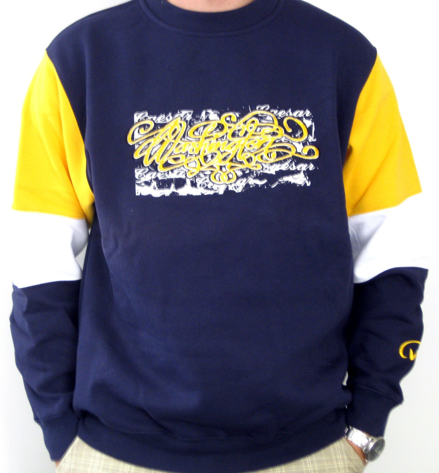 Caesar Washington Jr. Premium Sweater Skaterwear Sweatshirt navy/gelb S,M,L