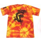 Herren Batik Nepal T-Shirt unikat bunt Shirt mit Tribal Druck Dragon orange/rot L 50